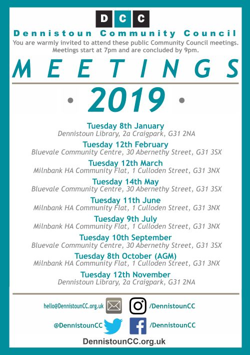 Dennistoun Community Council Meeting Dates 2019